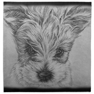Cute Puppy Dog Drawing of Animal Art Napkin
