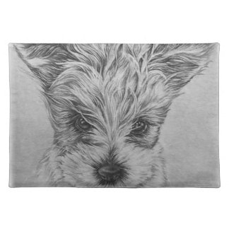 Cute Puppy Dog Drawing of Animal Art Placemat