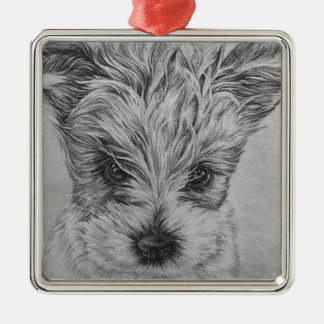 Cute Puppy Dog Drawing of Animal Art Silver-Colored Square Decoration