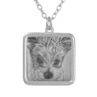 Cute Puppy Dog Drawing of Animal Art Silver Plated Necklace