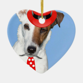 Cute puppy dog fashion red hat tie moustache christmas ornament