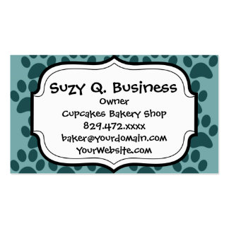 Cute Puppy Dog Paw Prints Blue Gray Dog Lovers Double-Sided Standard Business Cards (Pack Of 100)