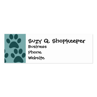 Cute Puppy Dog Paw Prints Blue Gray Dog Lovers Pack Of Skinny Business Cards