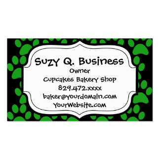 Cute Puppy Dog Paw Prints Green Black Pack Of Standard Business Cards