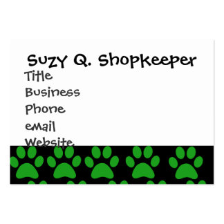 Cute Puppy Dog Paw Prints Green Black Business Card Template