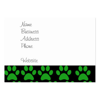 Cute Puppy Dog Paw Prints Green Black Business Cards