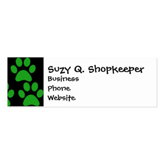 Cute Puppy Dog Paw Prints Green Black Pack Of Skinny Business Cards