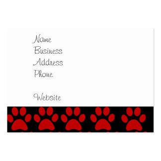 Cute Puppy Dog Paw Prints Red Black Business Cards