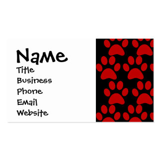 Cute Puppy Dog Paw Prints Red Black Pack Of Standard Business Cards