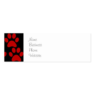 Cute Puppy Dog Paw Prints Red Black Pack Of Skinny Business Cards