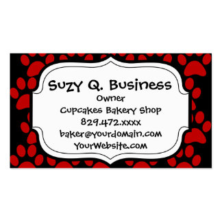 Cute Puppy Dog Paw Prints Red Black Business Card Template