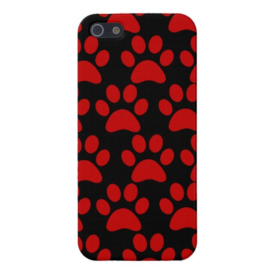 Cute Puppy Dog Paw Prints Red Black iPhone
