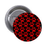 Cute Puppy Dog Paw Prints Red Black Pin