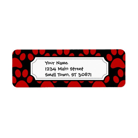 Cute Puppy Dog Paw Prints Red Black Return Address Label