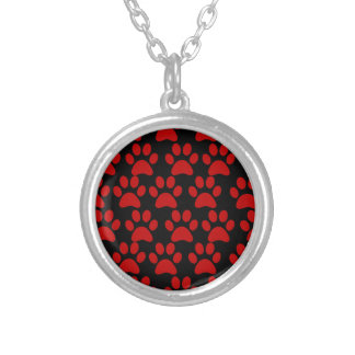 Cute Puppy Dog Paw Prints Red Black Silver Plated Necklace