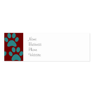 Cute Puppy Dog Paw Prints Red Blue Pack Of Skinny Business Cards