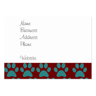 Cute Puppy Dog Paw Prints Red Blue Pack Of Chubby Business Cards