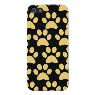 Cute Puppy Dog Paw Prints Tan Black Case For iPhone 5/5S