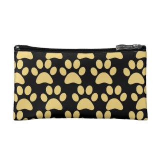 Cute Puppy Dog Paw Prints Tan Black Cosmetic Bag