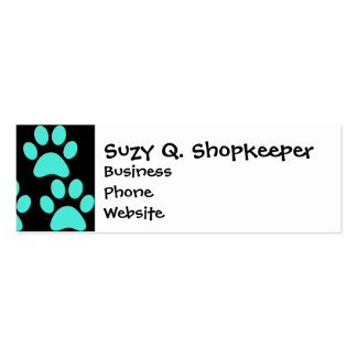 Cute Puppy Dog Paw Prints Teal Blue Black Business Cards
