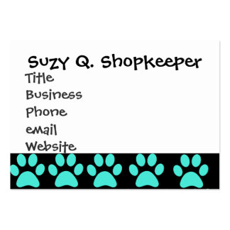 Cute Puppy Dog Paw Prints Teal Blue Black Business Card