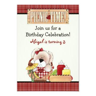 "Cute Puppy Dog Picnic Birthday Invitation ~ Girls 5"" X 7"" Invitation Card"