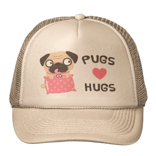 Cute Puppy Dog Pugs Love Hugs Hat