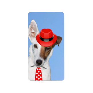Cute puppy dog red fashion funy moustache tie hat label