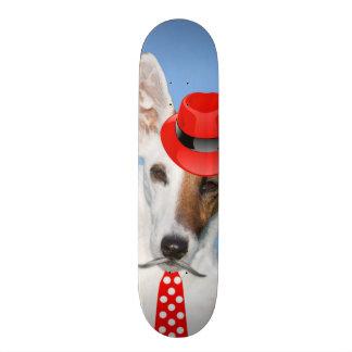 Cute puppy dog red fashion funy moustache tie hat skateboard deck