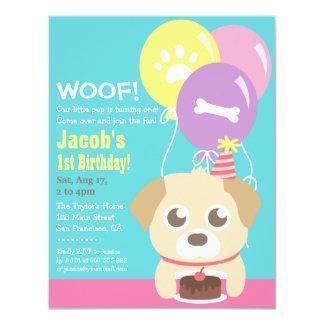 Cute Puppy Dog Themed Kids Birthday Party 11 Cm X 14 Cm Invitation Card