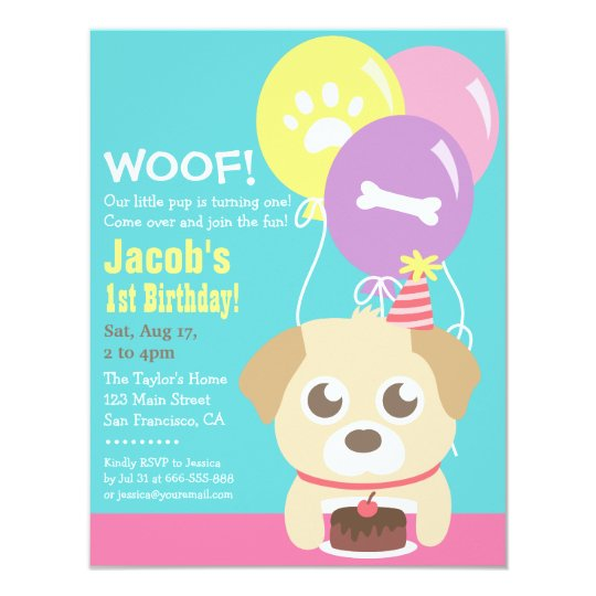 Cute Puppy Dog Themed Kids Birthday Party Invitation