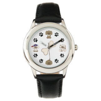 Cute Puppy Dogs, Paw Prints and Bone Boys Watch