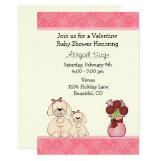 Cute Puppy Dogs Valentine Baby Shower Invite Girls