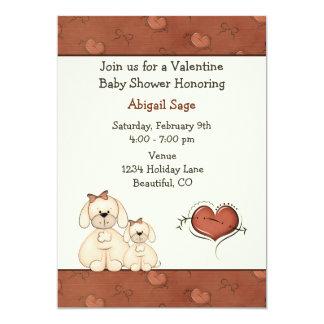 Cute Puppy Dogs Valentine Girls Baby Shower 13 Cm X 18 Cm Invitation Card