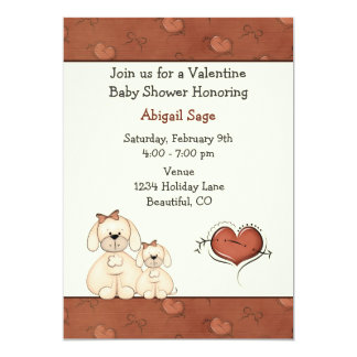 Cute Puppy Dogs Valentine Girls Baby Shower Card