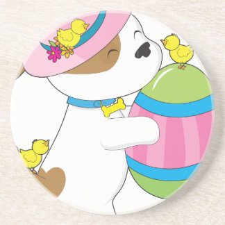 Cute Puppy Easter Egg Drink Coaster