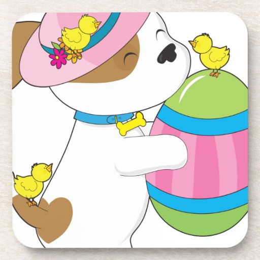 Cute Puppy Easter Egg Beverage Coaster