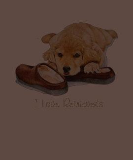 cute puppy golden retriever cuddling slippers art t shirts