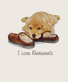 cute puppy golden retriever cuddling slippers art tshirt