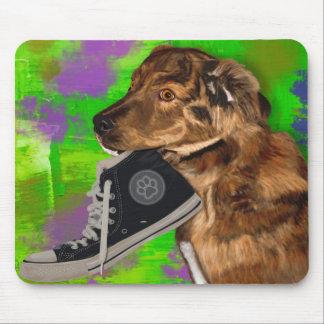 Cute Puppy Grabbing a Hi Top Sneaker Mouse Pad