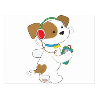 Cute Puppy Headphones Postcard