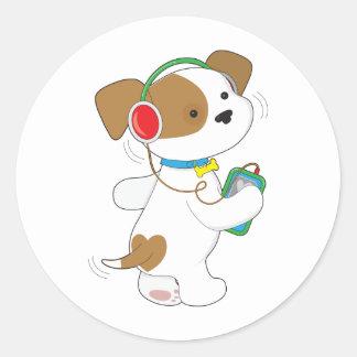 Cute Puppy Headphones Round Sticker