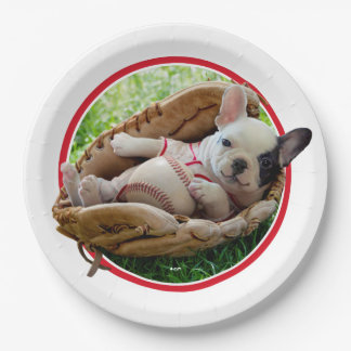 Cute Puppy in a Baseball Mitt Paper Plate