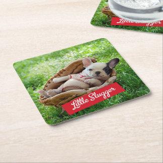 Cute Puppy in a Baseball Mitt Square Paper Coaster