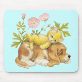 Cute Puppy & Kitten Mouse Pad