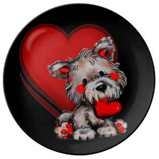 cute puppy love with heart porcelain plate