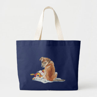 Cute puppy mixed breed with teddy dog portrait art large tote bag