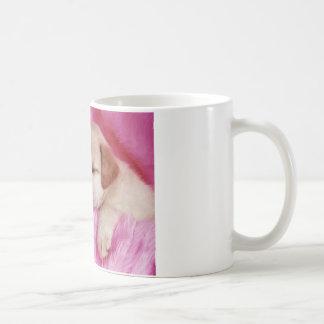 cute puppy on pink fur coffee mug