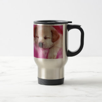cute puppy on pink fur stainless steel travel mug
