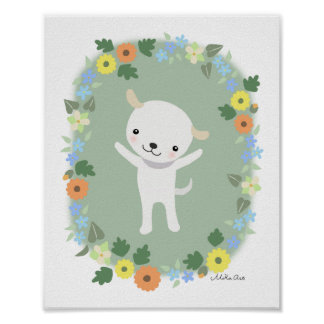 Cute Puppy Poster Cute Dog Nursery Art Print